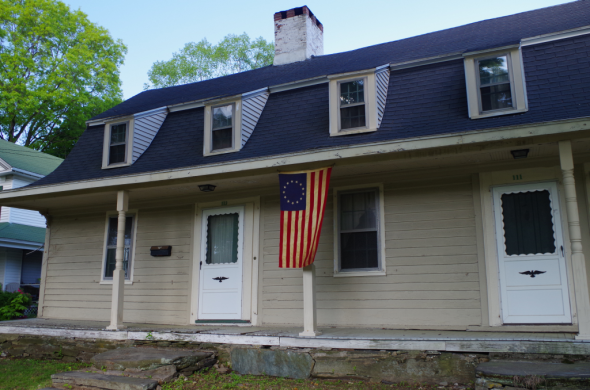 Sanford-Bristol House (c. 1789). Milford, CT, and Betsy Ross flag.